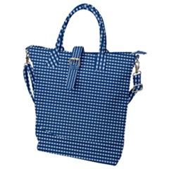 Gingham Plaid Fabric Pattern Blue Buckle Top Tote Bag