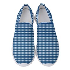 Gingham Plaid Fabric Pattern Blue Women s Slip On Sneakers by HermanTelo
