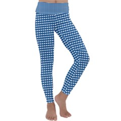 Gingham Plaid Fabric Pattern Blue Kids  Lightweight Velour Classic Yoga Leggings by HermanTelo