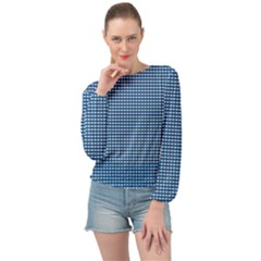 Gingham Plaid Fabric Pattern Blue Banded Bottom Chiffon Top by HermanTelo