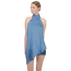 Gingham Plaid Fabric Pattern Blue Halter Asymmetric Satin Top by HermanTelo