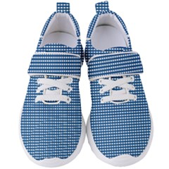 Gingham Plaid Fabric Pattern Blue Women s Velcro Strap Shoes by HermanTelo