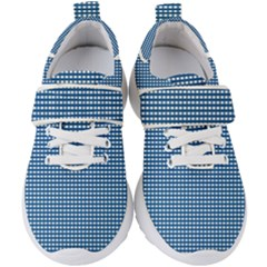Gingham Plaid Fabric Pattern Blue Kids  Velcro Strap Shoes by HermanTelo