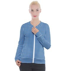 Gingham Plaid Fabric Pattern Blue Casual Zip Up Jacket