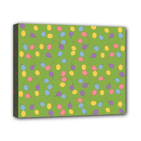 Balloon Grass Party Green Purple Canvas 10  X 8  (stretched) by HermanTelo