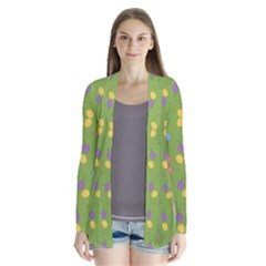 Balloon Grass Party Green Purple Drape Collar Cardigan