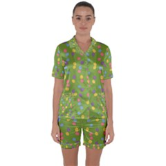 Balloon Grass Party Green Purple Satin Short Sleeve Pyjamas Set