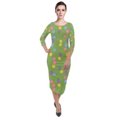 Balloon Grass Party Green Purple Quarter Sleeve Midi Velour Bodycon Dress by HermanTelo