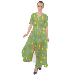 Balloon Grass Party Green Purple Waist Tie Boho Maxi Dress