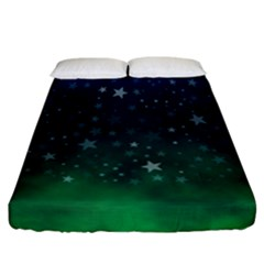 Background Blue Green Stars Night Fitted Sheet (california King Size)