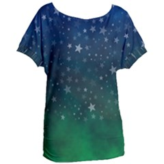 Background Blue Green Stars Night Women s Oversized Tee by HermanTelo