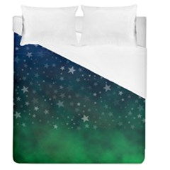 Background Blue Green Stars Night Duvet Cover (queen Size) by HermanTelo