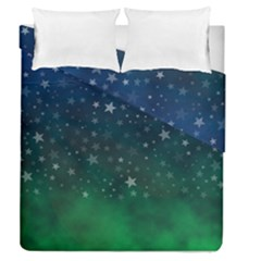 Background Blue Green Stars Night Duvet Cover Double Side (queen Size)