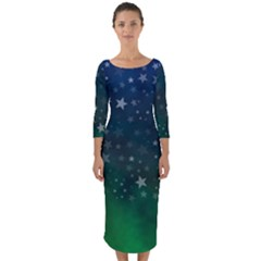 Background Blue Green Stars Night Quarter Sleeve Midi Bodycon Dress by HermanTelo