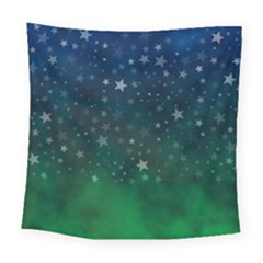 Background Blue Green Stars Night Square Tapestry (large) by HermanTelo