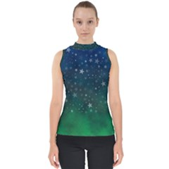 Background Blue Green Stars Night Mock Neck Shell Top