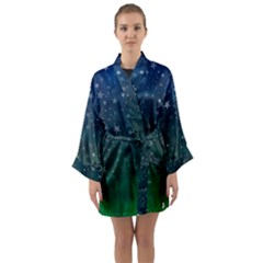 Background Blue Green Stars Night Long Sleeve Kimono Robe