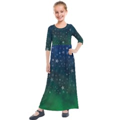 Background Blue Green Stars Night Kids  Quarter Sleeve Maxi Dress by HermanTelo