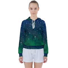 Background Blue Green Stars Night Women s Tie Up Sweat by HermanTelo