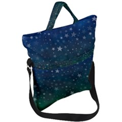 Background Blue Green Stars Night Fold Over Handle Tote Bag by HermanTelo