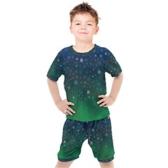 Background Blue Green Stars Night Kids  Tee And Shorts Set by HermanTelo