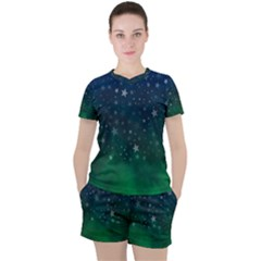 Background Blue Green Stars Night Women s Tee And Shorts Set by HermanTelo