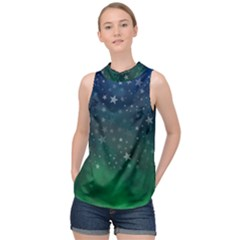 Background Blue Green Stars Night High Neck Satin Top by HermanTelo