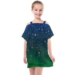 Background Blue Green Stars Night Kids  One Piece Chiffon Dress by HermanTelo