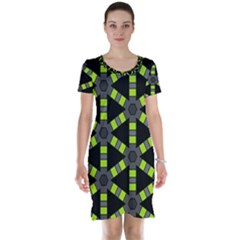 Backgrounds Green Grey Lines Short Sleeve Nightdress