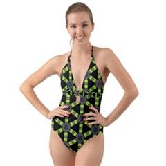 Backgrounds Green Grey Lines Halter Cut Out One Piece Swimsuit