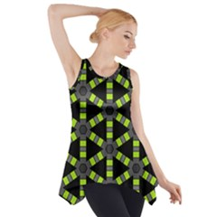 Backgrounds Green Grey Lines Side Drop Tank Tunic