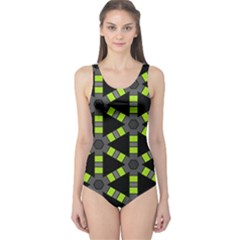 Backgrounds Green Grey Lines One Piece Swimsuit