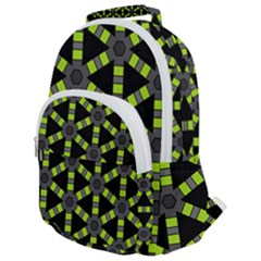 Backgrounds Green Grey Lines Rounded Multi Pocket Backpack