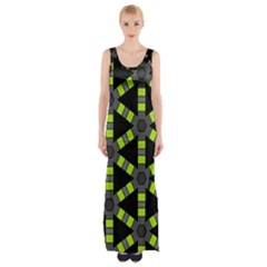 Backgrounds Green Grey Lines Maxi Thigh Split Dress