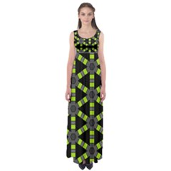 Backgrounds Green Grey Lines Empire Waist Maxi Dress