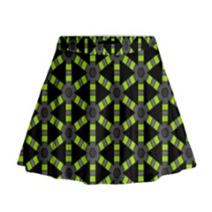 Backgrounds Green Grey Lines Mini Flare Skirt