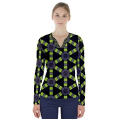Backgrounds Green Grey Lines V Neck Long Sleeve Top