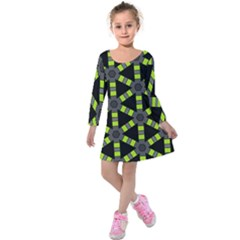 Backgrounds Green Grey Lines Kids  Long Sleeve Velvet Dress