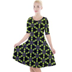 Backgrounds Green Grey Lines Quarter Sleeve A Line Dress