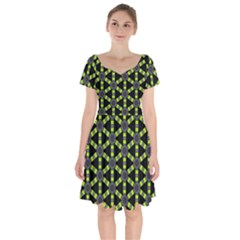 Backgrounds Green Grey Lines Short Sleeve Bardot Dress