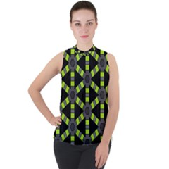 Backgrounds Green Grey Lines Mock Neck Chiffon Sleeveless Top