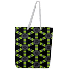 Backgrounds Green Grey Lines Full Print Rope Handle Tote (large)