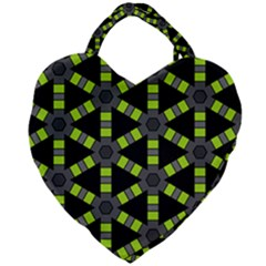 Backgrounds Green Grey Lines Giant Heart Shaped Tote