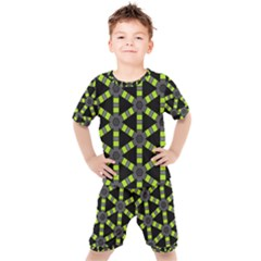 Backgrounds Green Grey Lines Kids  Tee And Shorts Set by HermanTelo