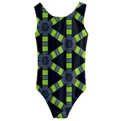 Backgrounds Green Grey Lines Kids  Cut Out Back One Piece Swimsuit