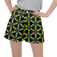 Backgrounds Green Grey Lines Ripstop Shorts