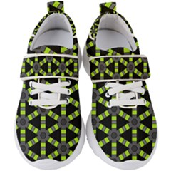Backgrounds Green Grey Lines Kids  Velcro Strap Shoes