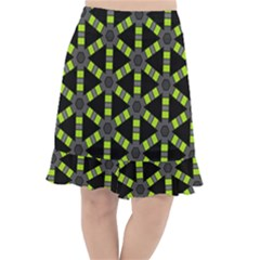 Backgrounds Green Grey Lines Fishtail Chiffon Skirt
