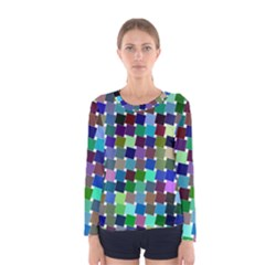 Geometric Background Colorful Women s Long Sleeve Tee