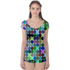 Geometric Background Colorful Boyleg Leotard